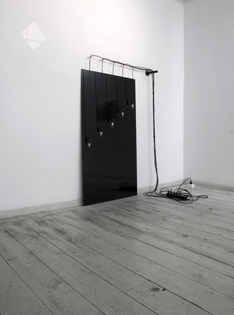 Gas Lamps As Angels (After Lisel Mueller's poem: 'Monet Refuses The Operation'), 2009 Wires, lamps, black glass, metal part, white gloss paint on wall Dimensions variable