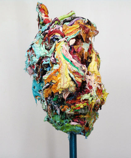 Panos Famelis Decapitated Loved Ones As Trophies, 2007 oil colour sculpture on metal base average dimensions, 164 x 33 x 24 cm