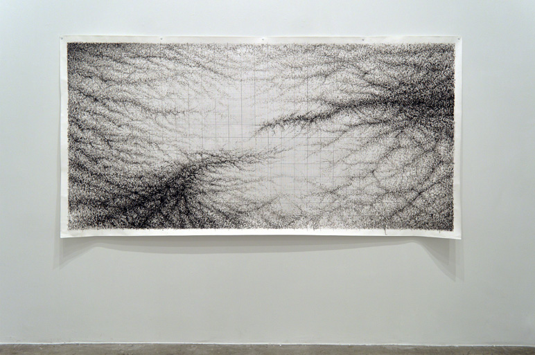 Almost (Draft 3), 2015 Ink and pen on paper 150 x 300 cm