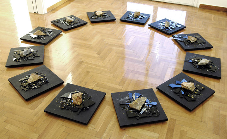 Besides there is an option, 2012 Glass, wood, stones, gold paint dimensions variable