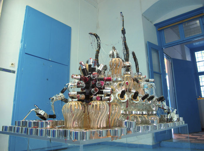 C.Q., 2010 honey jars, cosmetic containers, lipsticks, glue, mirror approx. height 1.60 m, length 1.20 m, width 0.60 m