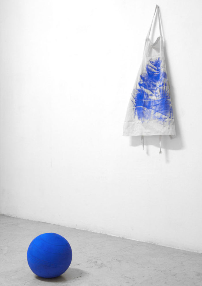 Carry Me Installation; rubber ball, cobalt dust, apron Milan, 2013