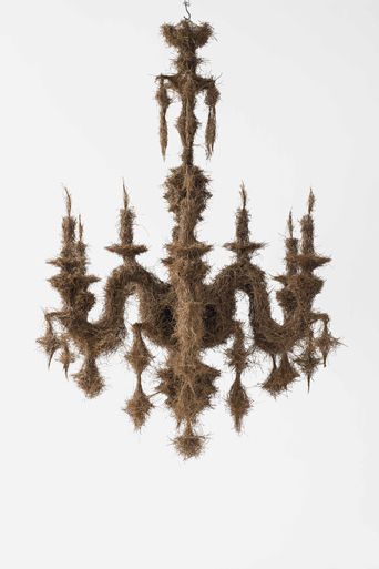 Martha Dimitropoulou Chandelier, 2014 Pine needles 170cm, diameter: 130cm