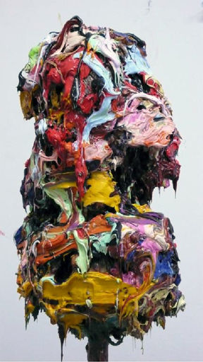 Decapitated Loved Ones As Trophies, 2007 oil colour sculpture on metal base average dimensions, 164 x 33 x 24 cm