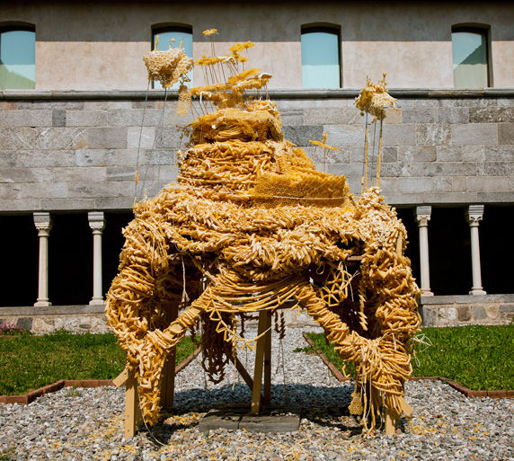 M.A.P., 2011 250 Kg of pasta, wood, silicone, glue, string Height 2.50m x Length 1.60m x width 1.80m