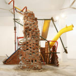 N.T.Y., 2012 Bricks, cement, discarded playground (swing, slides, merry-go-rounds, see-saws, climbing-bars) Height 4m, length 5.50, width 4m