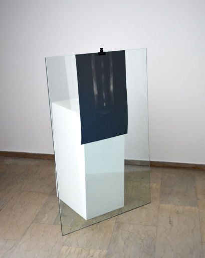 Untitled (from the Gate Series), 2013 Glass, plywood stand, Fine Art print, clip Dimensions variable